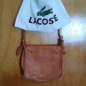 LACOSTE Tan Leather Crossbody Bag with Dustbag